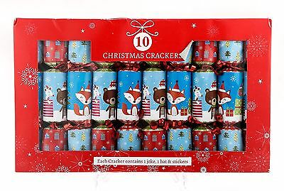 10 Pack Luxury Vintage Christmas Crackers Plain Bear Fox Table Decoration