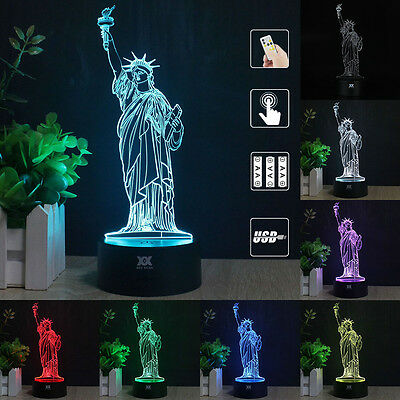 New York Statue of Liberty 3D LED Night Light Touch Desk Lamp Remote Control