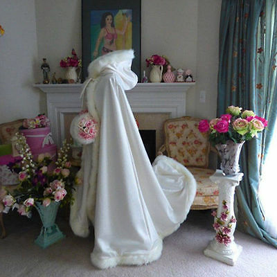 New White/Ivory Hooded with Faux Fur Trim Winter Wedding Long Cloak Cape stock**