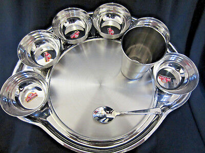Stainless Steel 9 piece Indian Thali Curry Food Dinner Tray Plate Dish Set