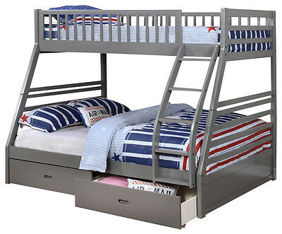 Grey Twin over Full Bunk Bed with Storage Drawers