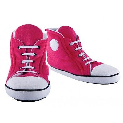 Hi-Top Ladies Slippers Pink Sneakers Trainers Retro Design Up to UK Size 7