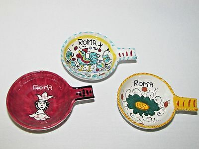 Lot of 3 Vintage Deruta Individual Ashtrays Queen, Rooster and Flower Italy