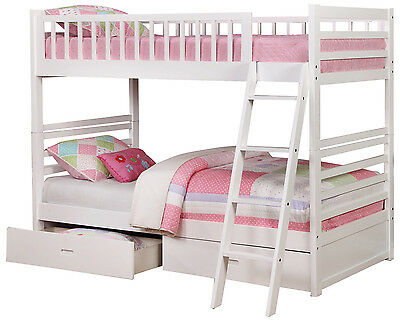 White Twin over Twin Bunk Bed with Storage Drawers