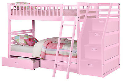 PinkTwin over Twin Bunk Bed with Storage Drawers and Stairway Chest