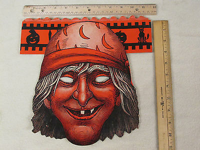 RARE Vtg Halloween Witch Monster Pirate Mask w/ Honeycomb Crepe Paper Crown