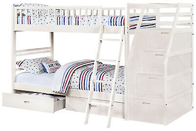 White Twin over Twin Bunk Bed with Storage Drawers and Stairway Chest