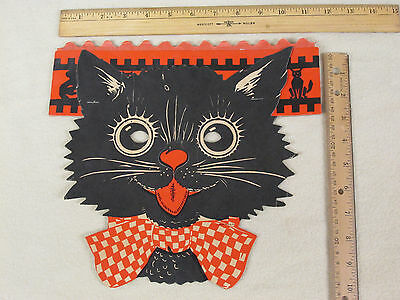 RARE Vtg Halloween Black Cat Bowtie Mask w/ Honeycomb Crepe Paper Crown Kitten