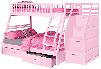 Pink Twin over Full Bunk Bed with Storage Drawers and Stairway Chest