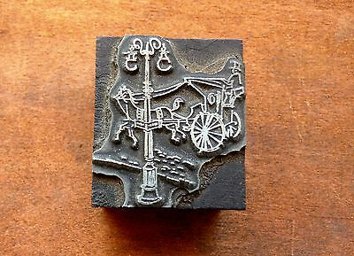 Antique PRINTERS BLOCK Stagecoach riding pass charming old street light