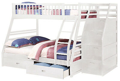 White Twin over Full Bunk Bed with Storage Drawers and Stairway Chest