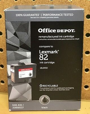 Office Depot Lexmark 82 Black Ink Cartridge Replacement 648-632-20858537 new
