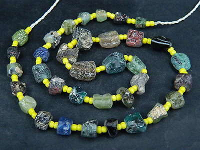 Ancient Fragment Glass Beads Strand Roman 200 BC     #BE1400