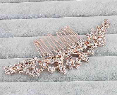 Rose Gold Bridal Comb With Crystals Wedding Hair Accessory Jewelry Ornament
