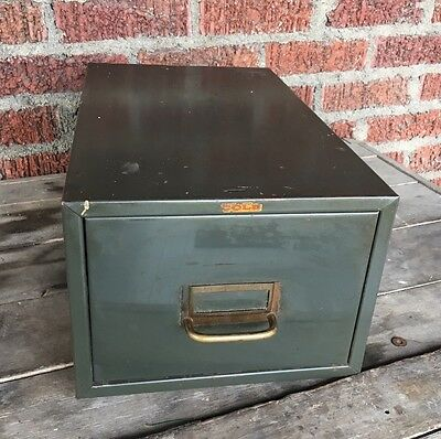 Vintage Cole Card Catalog Box Steel GREEN Industrial Metal 1 Drawer File Filing