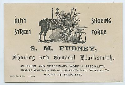 1897 Scarce Pictorial Business Card S M Pudney Black Smith Hutt St Adelaide V97.