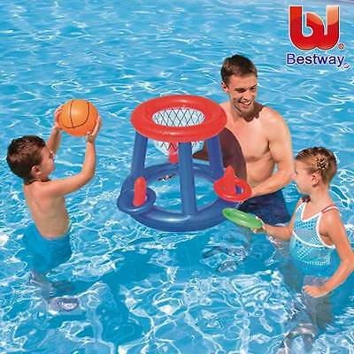 Floating Pool Basketball Game Toss with Ball Inflatable Adult Kids Swimming Toy
