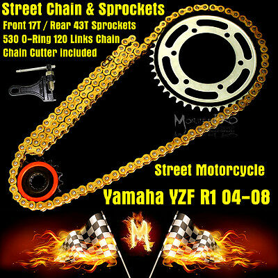 YAMAH YZF R1 2006 2007 2008 530 Gold O-Ring Chain and Front Rear Sprocket Kit