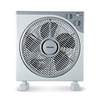 Heller 30cm Box Fan 3 Speed/Timer/Rotating Louvres Floor Cooler/Cooling
