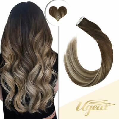 Ombre Ash Brown to Bleach Blonde Remy Human Hair Seamless Tape In Hair Extension