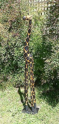 HANDMADE&PAINTED WOODEN HAND CARVED GIRAFFE ON PLATE/STAND  150cmH