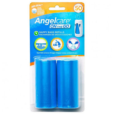 Angelcare 2Pk Refill Bag-Roll Disposal for On the Go Baby Nappy/Diaper Dispenser