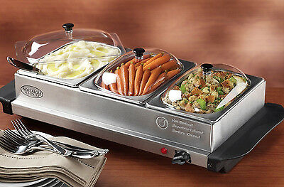 Nostalgia Electrics Living 3-Station Mini Buffet Server with Warming Tray BCD332