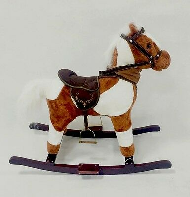 New Deluxe Musical Plush Rocking Horse Ride On Sound Sz Small Medium Large