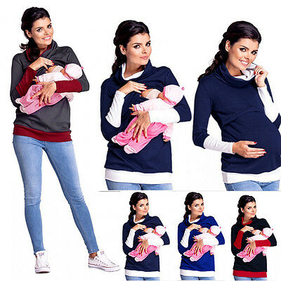 2 in1 Maternity & Nursing breastfeeding warm Hoodie Top Pullover Sweatshirt