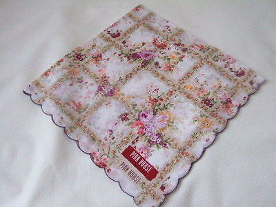 Made in Japan Muslin cotton Hanky Handkerchief PINK HOUSE purple rose