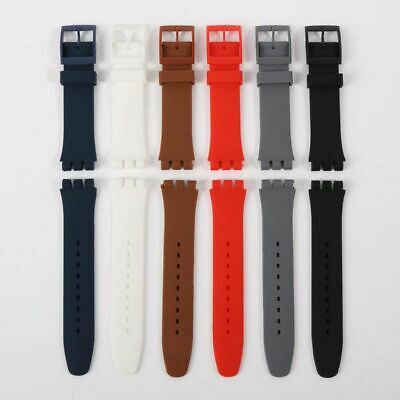 17mm19mm 20mm 6 Colors Silicone Rubber Waterproof Sport Wrist Watch Band Strap