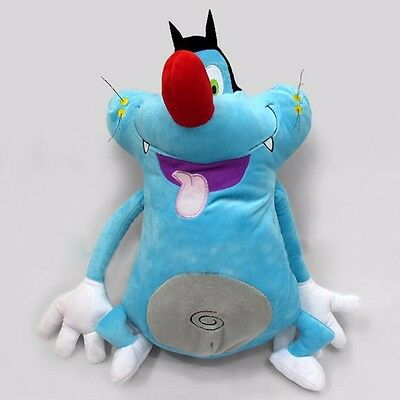 "13""/33cm Oggy and the Cockroaches Plush Toys Cute Blue Fat Cat Birthday Present"