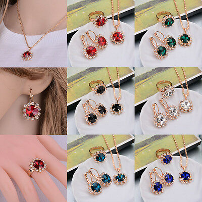 New Women's Gold Plated Chain Pendant Earrings Ring Necklace Party Jewelry Set