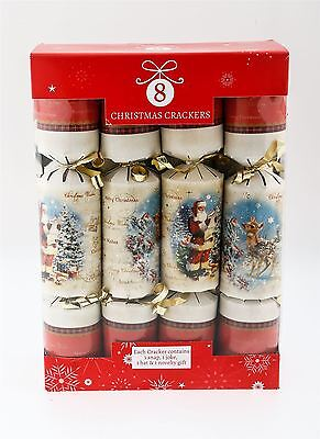 8 Luxury Childrens Christmas Crackers Ruldolph Santa Gold Reindeer Table Present