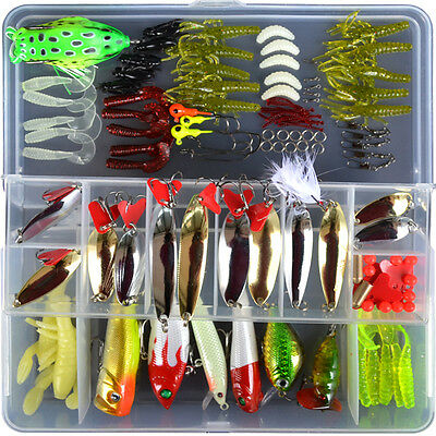 120pcs Mixed Lot Assorted Minnow Popper Spoon Frog Fishing Lure Soft Bait Tackle