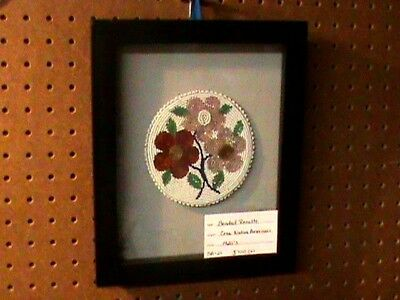 Native American Beaded Rosette Shadow Box Cree Made 1920 Rare Regalia History