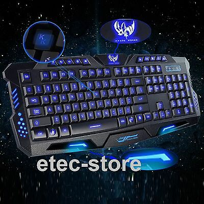 USB Wired 3 LED Backlit Light Illuminated Ergonomic Gaming Multimedia Keyboard