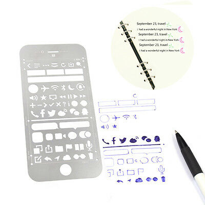 Stainless Steel Stencil Ruler Hollow Gift Stationery Varioue Patterns Portable