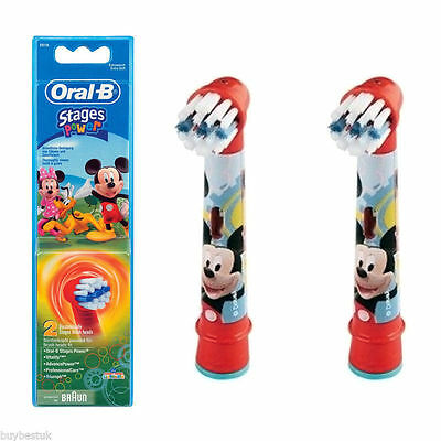 Braun Oral-b Eb10K MIKEY MOUSE Stages Replacement Brush Heads X 2 ORIGINAL