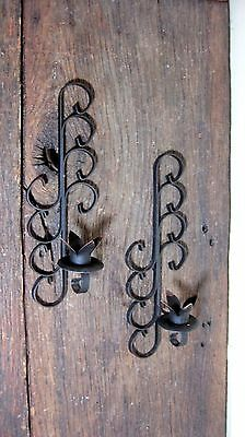 Vintage Mid Century Iron Taper Candle Holder Wall Sconces Home & Garden Lights