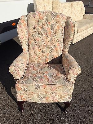 Floral Pattern Fabric High Wing Button Back Armchair Lounge Chair Clean & Comfy