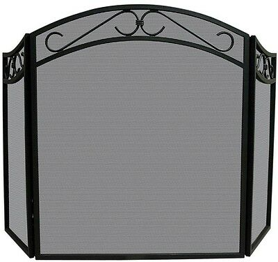 UniFlame Arch Top Black Wrought Iron 3-Panel Fireplace Screen with Decorative