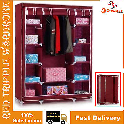 New Red Triple Canvas Wardrobe Clothes Rack Hanging Rail Storage Cupboard
