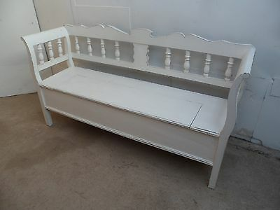 A Beautifully Painted Shabby Chic Scrolled Box Settle/Bench