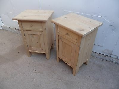 A Stunning Pair of Antique Pine Sofa Lamp Table/Bedside Cabinets to Paint or Wax