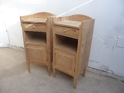 A Very Rare Pair of Arts & Crafts Open Scrolled Bedside Cabinets to Paint/Wax