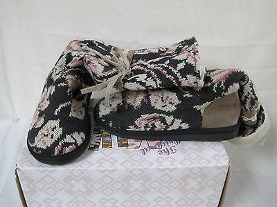 New Womens Muk Luks Jasmine Floral Boots Style 107704 Gray  W30