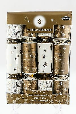 8 Luxury Christmas Crackers White Gold Snowflake Table Decoration Gift Hat Toy