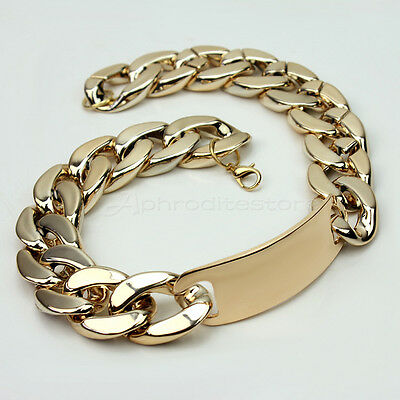 Design Shiny Punk Style Golden Statement Chunky Link ID Chain Choker Necklace
