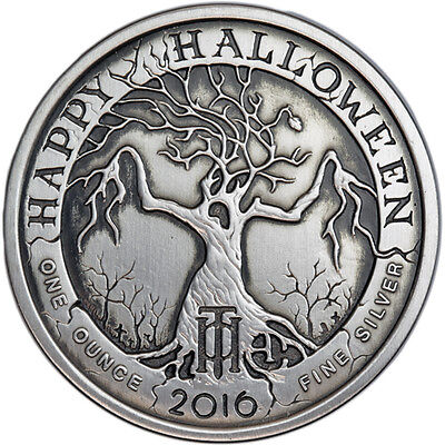 2016 Nightmares Of The Fall - Happy Halloween 1 oz Silver Antiqued Finish Round